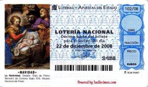 Decimo de loteria de navidad personalizado