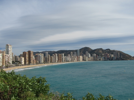 Vista de Benidorm, playa de Levante